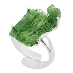 8.42cts solitaire natural moldavite fancy silver adjustable ring size 6.5 t50029