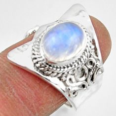 4.51cts solitaire natural moonstone 925 silver adjustable ring size 7 r49617