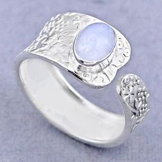 1.43cts solitaire natural moonstone 925 silver adjustable ring size 7 t47479