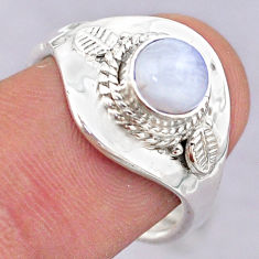 1.23cts solitaire natural moonstone 925 silver adjustable ring size 8 t32211