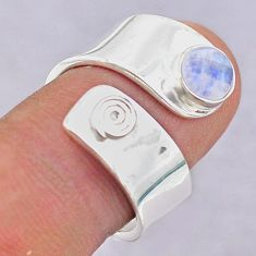 1.20cts solitaire natural moonstone 925 silver adjustable ring size 8 t32212
