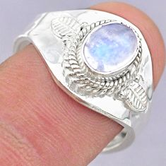 1.22cts solitaire natural moonstone 925 silver adjustable ring size 8 t32214