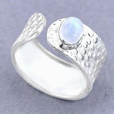 1.47cts solitaire natural moonstone 925 silver adjustable ring size 8 t47380