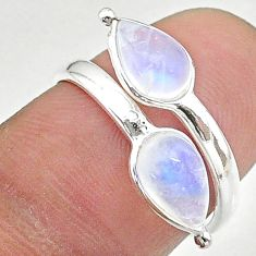 3.72cts solitaire natural moonstone 925 silver adjustable ring size 6.5 t19140