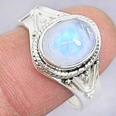3.98cts solitaire natural moonstone 925 silver adjustable ring size 8.5 t8812