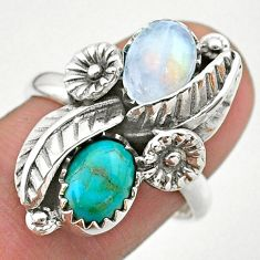 4.50cts solitaire natural moonstone 925 silver flower ring size 8.5 t25225
