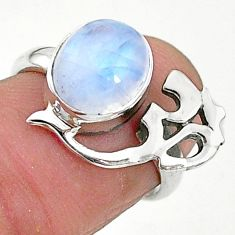 4.01cts solitaire natural moonstone 925 silver om symbol ring size 6.5 t6354