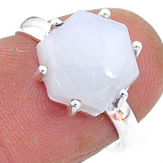 5.44cts solitaire natural moonstone hexagon 925 silver ring size 6.5 t11128