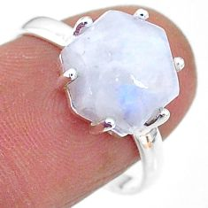 5.45cts solitaire natural moonstone hexagon shape 925 silver ring size 8 t11126
