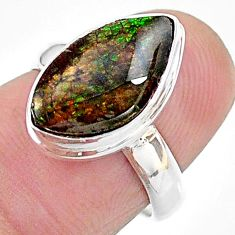 5.23cts solitaire natural multi color ammolite 925 silver ring size 6 t18819