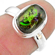 4.24cts solitaire natural multi color ammolite 925 silver ring size 6 t18846