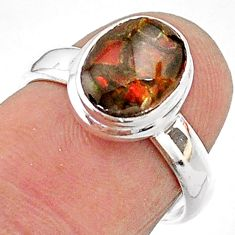 3.32cts solitaire natural multi color ammolite 925 silver ring size 6 t18872