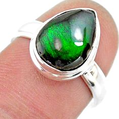 4.58cts solitaire natural multi color ammolite 925 silver ring size 7 t18822