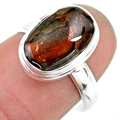 4.81cts solitaire natural multi color ammolite 925 silver ring size 7 t18823
