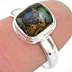 4.28cts solitaire natural multi color ammolite 925 silver ring size 7 t18845