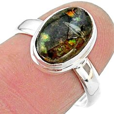 4.82cts solitaire natural multi color ammolite 925 silver ring size 7 t18865
