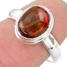 3.47cts solitaire natural multi color ammolite 925 silver ring size 7 t18866