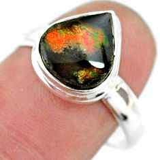 4.82cts solitaire natural multi color ammolite 925 silver ring size 8 t18821