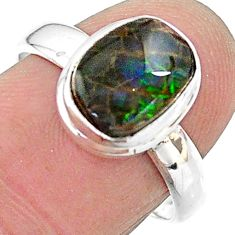 4.63cts solitaire natural multi color ammolite 925 silver ring size 8 t18854