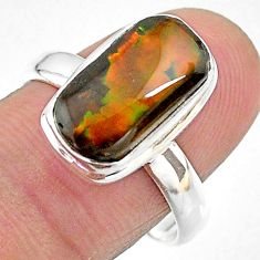 5.10cts solitaire natural multi color ammolite 925 silver ring size 9 t18808