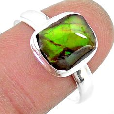 4.26cts solitaire natural multi color ammolite 925 silver ring size 9 t18830