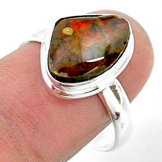 5.38cts solitaire natural multi color ammolite 925 silver ring size 9 t18834