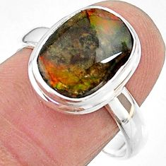 5.11cts solitaire natural multi color ammolite 925 silver ring size 9 t18852