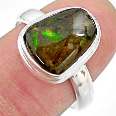 4.82cts solitaire natural multi color ammolite 925 silver ring size 7.5 t18809