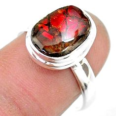 4.70cts solitaire natural multi color ammolite 925 silver ring size 7.5 t18836