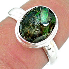 4.07cts solitaire natural multi color ammolite 925 silver ring size 6.5 t18977