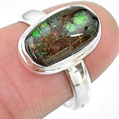 4.38cts solitaire natural multi color ammolite oval silver ring size 6 t18804