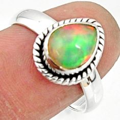 3.10cts solitaire natural multi color ethiopian opal silver ring size 7.5 r51045