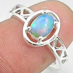 1.51cts solitaire natural multi color ethiopian opal silver ring size 6 t8877