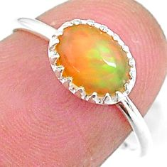 2.18cts solitaire natural multi color ethiopian opal silver ring size 6 t8938