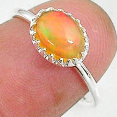 1.98cts solitaire natural multi color ethiopian opal silver ring size 6 t8991