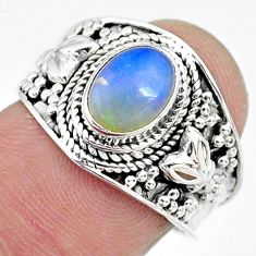 2.17cts solitaire natural multi color ethiopian opal silver ring size 7 t10270