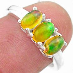 2.49cts solitaire natural multi color ethiopian opal silver ring size 7 t23823
