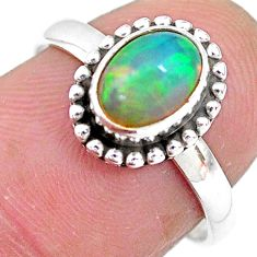 2.42cts solitaire natural multi color ethiopian opal silver ring size 7 t2748