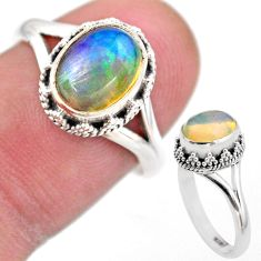 2.90cts solitaire natural multi color ethiopian opal silver ring size 7 t44503