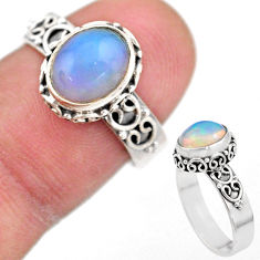 2.90cts solitaire natural multi color ethiopian opal silver ring size 7 t44506