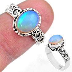 2.90cts solitaire natural multi color ethiopian opal silver ring size 7 t44511