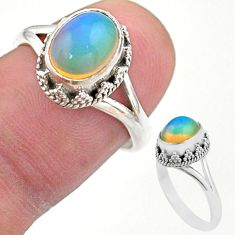 3.10cts solitaire natural multi color ethiopian opal silver ring size 7 t44521