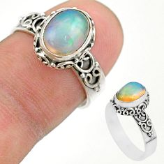 3.21cts solitaire natural multi color ethiopian opal silver ring size 7 t44530