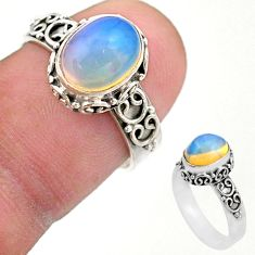 2.90cts solitaire natural multi color ethiopian opal silver ring size 7 t44535