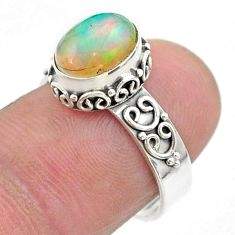 3.07cts solitaire natural multi color ethiopian opal silver ring size 7 t44731