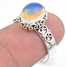 3.05cts solitaire natural multi color ethiopian opal silver ring size 7 t44734
