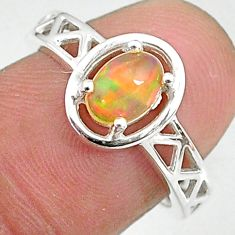 1.51cts solitaire natural multi color ethiopian opal silver ring size 7 t8893
