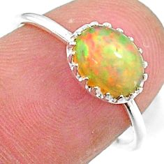 1.97cts solitaire natural multi color ethiopian opal silver ring size 7 t8931
