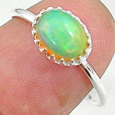 1.94cts solitaire natural multi color ethiopian opal silver ring size 7 t8998