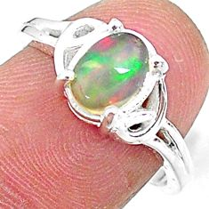 2.26cts solitaire natural multi color ethiopian opal silver ring size 7 t9094